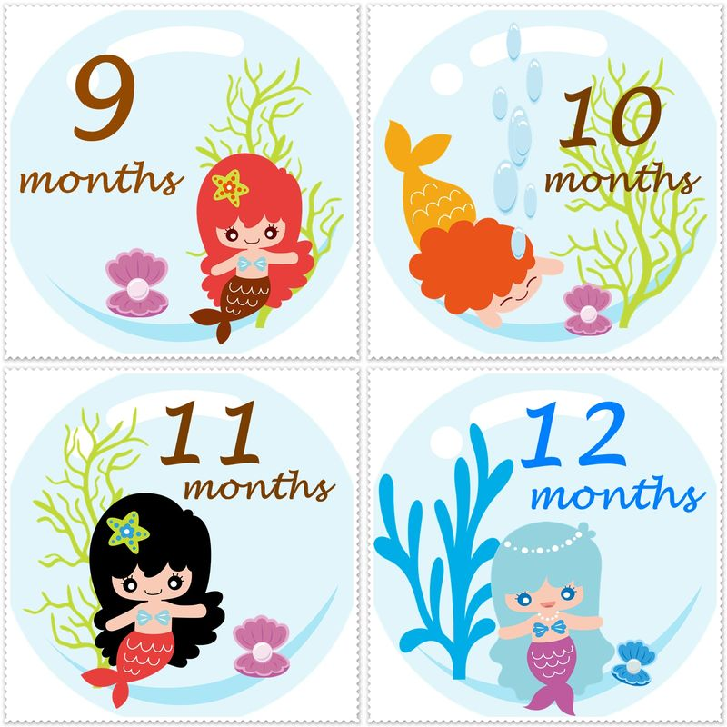 Little Girl Mermaid Monthly Onesie Stickers Snugglebug