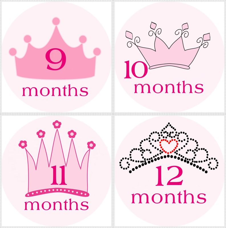 Princess Crowns Monthly Onesie Stickers For Photo Props