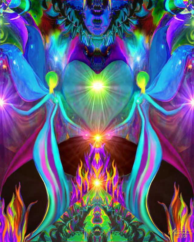 Twin Flames, Chakra Art, Violet Flame, Heart Love