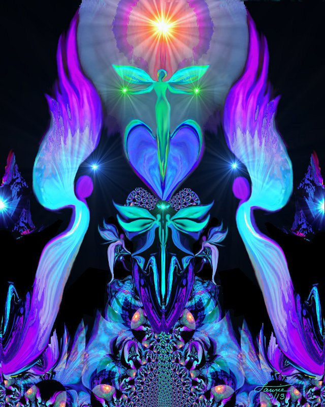 Twin Flames Chakra Art Purple Wall Decor Reiki Healing