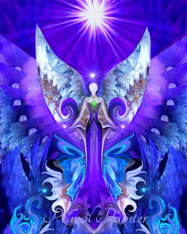Angel Healing Reiki Energy Purple Chakra Art Third Eye Open Primal Painter