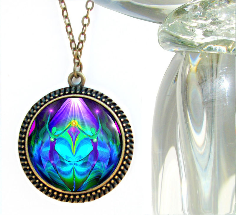 Twin Flames Necklace, Heart Pendant, Purple Teal Chakra Jewelry, Reiki  Healing Unity