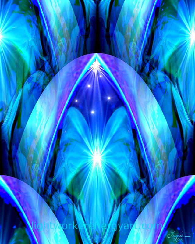 Blue Abstract Art Throat Chakra Healing Reiki Energy Decor The Doorway