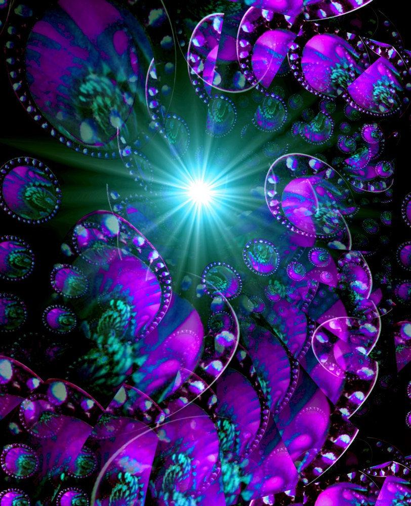 Abstract Art, Purple Wall Decor, Reiki Energy Art Print ...