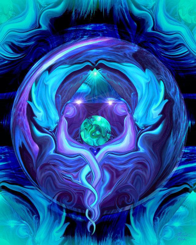 Reiki Art, Healing Circle, Twin Flames, Blue Angel Wall Decor Healing Circle