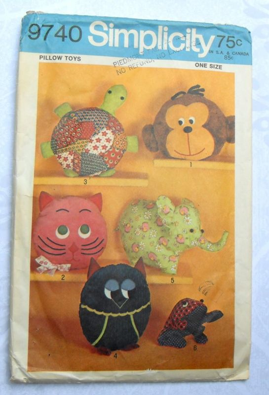 Toy Pillow Cover Pajama Bag 1970s Pattern Turtle Monkey