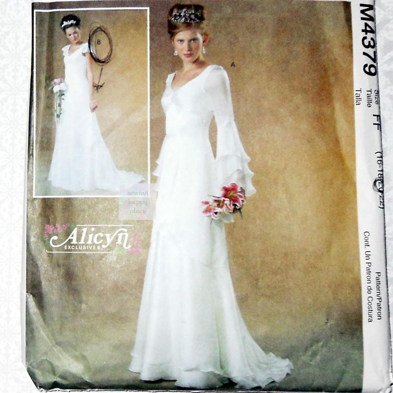 Wedding Gown Patterns With Sleeves: Bridal Gown Sewing Pattern. Plus Size. Cascade Sleeves And