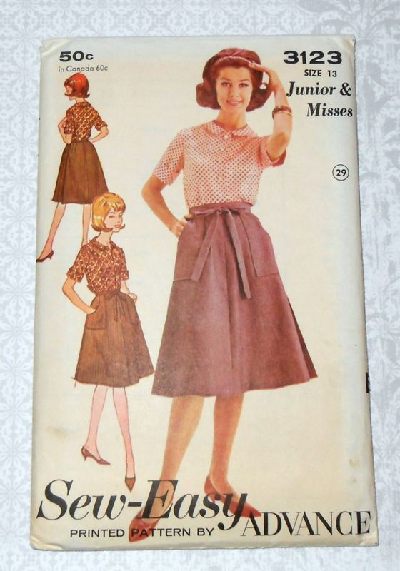 Wrap Skirt And Blouse Preppy 60s Pattern Johnny Collar