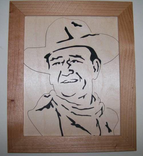John Wayne In Wood Scroll Saw Portrait Of John Wayne 004