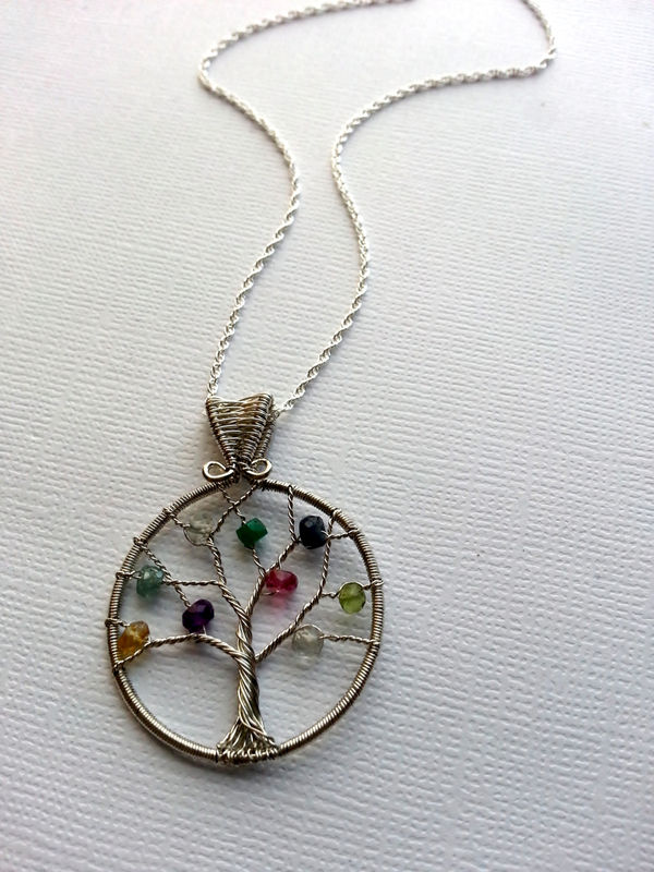 Custom Birthstone Necklace Mother S Family Tree Necklace Wire Wrapped Sterling Silver Birthstone Jewelry Megan Martin Artisan