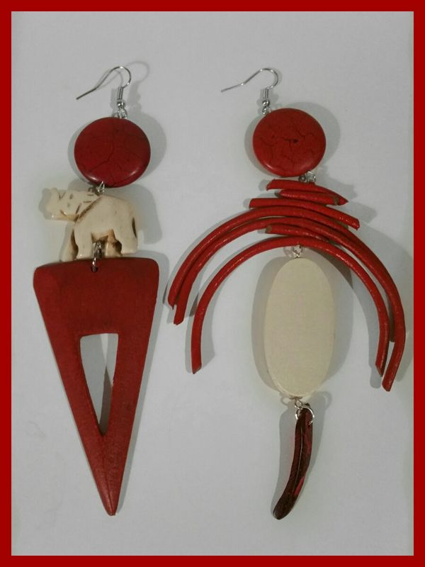 Red   Cream Asymmetrical Wood  Leather Cord Earrings - Crylittle Designs e9390eff8a03
