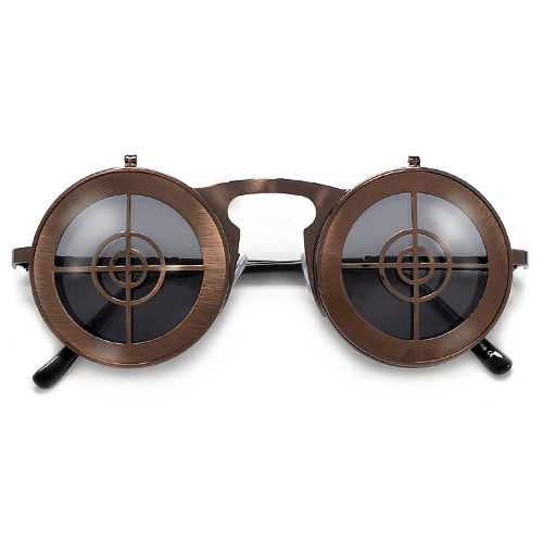 bd8622df0fb Steampunk Full Metal Round Flip Up Crosshairs Sunglasses - Crylittle ...