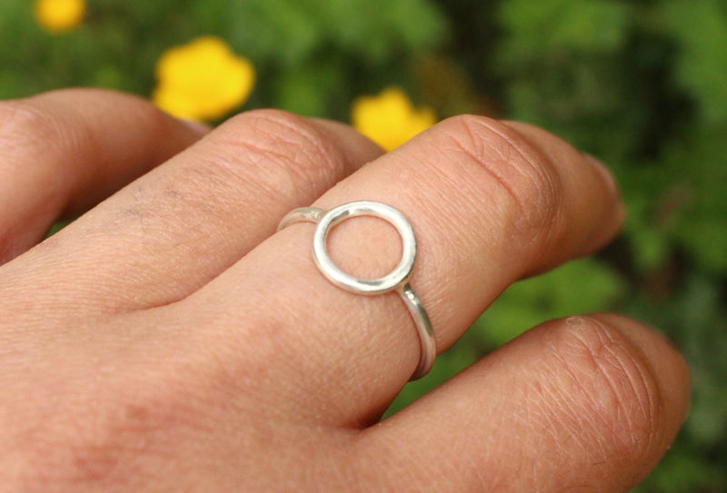 Silver Moon Ring Delicate Circle in 925 Sterling