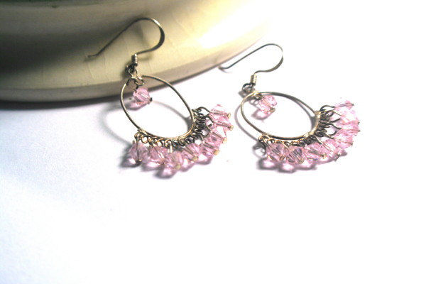 Crystal Chandelier Pink Gypsy Hoop Earrings In Sterling Silver And Sparkly Faceted
