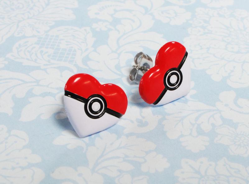Heart-shaped Pokéball Stud Earrings