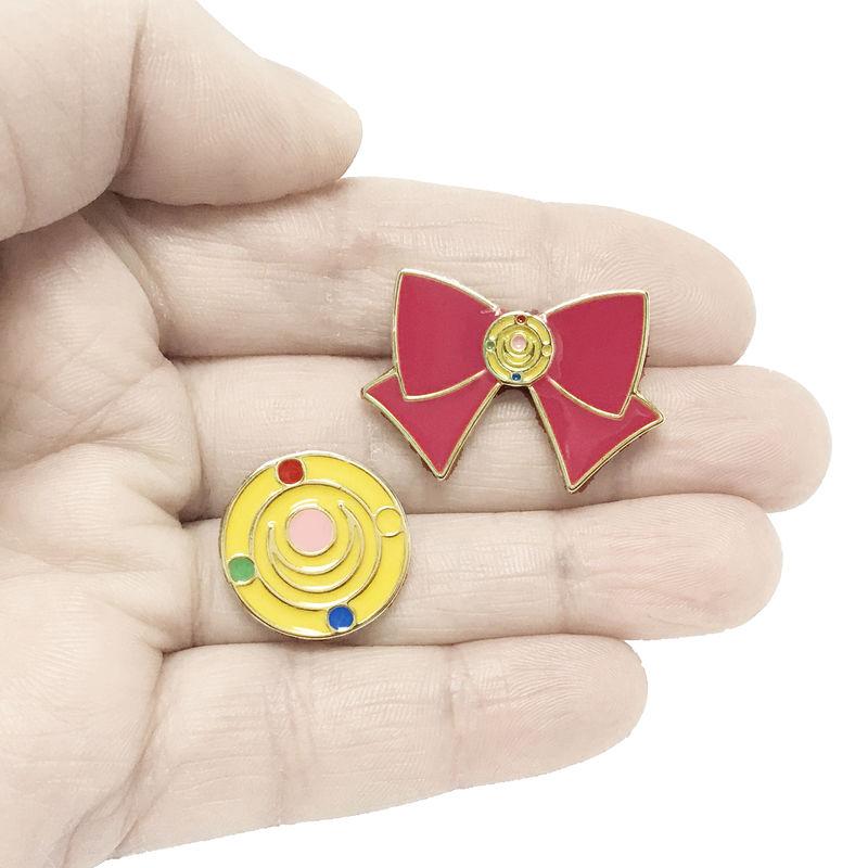 Sailor Moon Bow and Transformation Brooch Pin Set