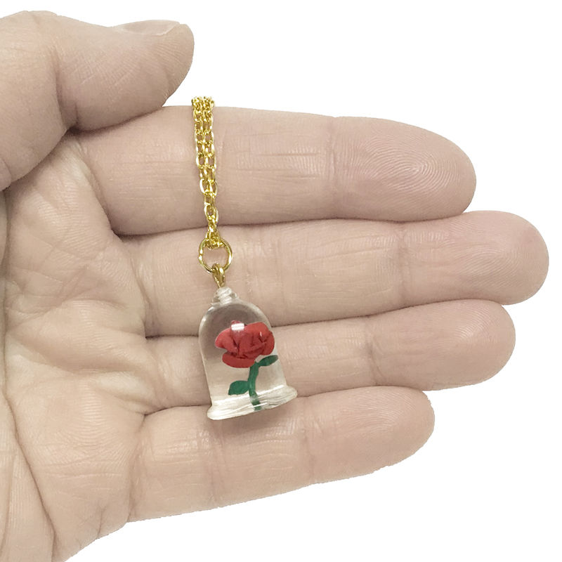 Beauty And The Beast Rose In Bell Jar Necklace Pinznthingz