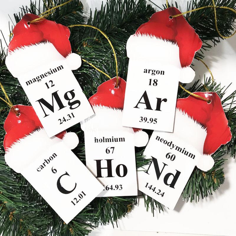 Geek Christmas Ornaments.Periodic Table Christmas Ornament