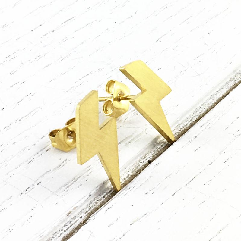 Golden Lightning Bolt Studs