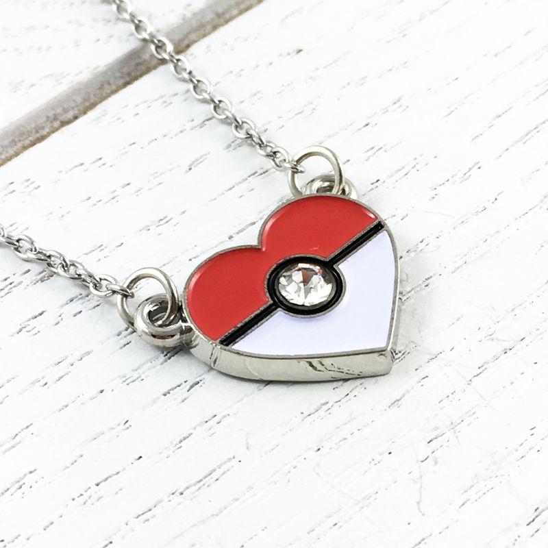 Heart-Shaped Pokéball Necklace