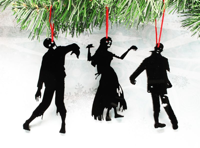 Top Zombie Silhouette Christmas Ornaments, set of three, black  MK53