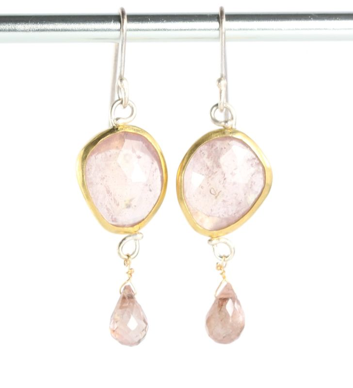 Pale Pink Rose Cut Shire Earrings With Andalusite Garnet Briolettes Leda Jewel Co