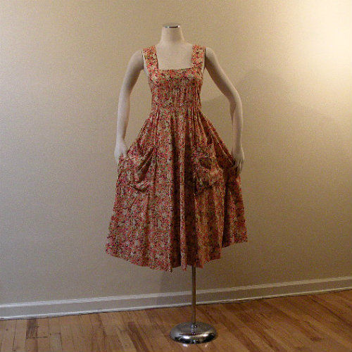 8860b06c3fd 70s Ann Campion Floral Summer Dress Small 34b 30w - Pretty Sweet Vintage