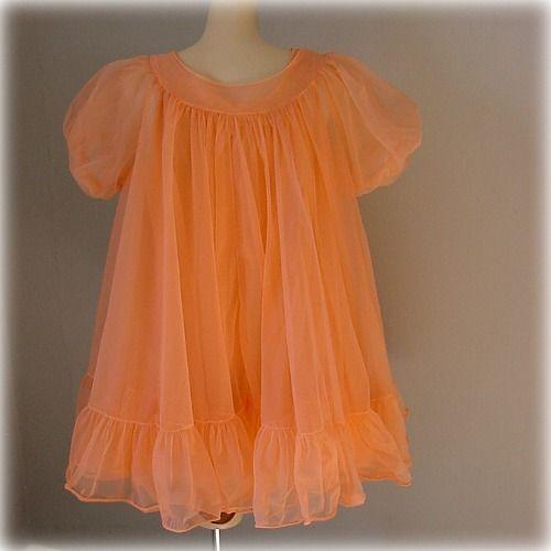60s Peach Parfait Texsheen Babydoll Peignoir Set Medium