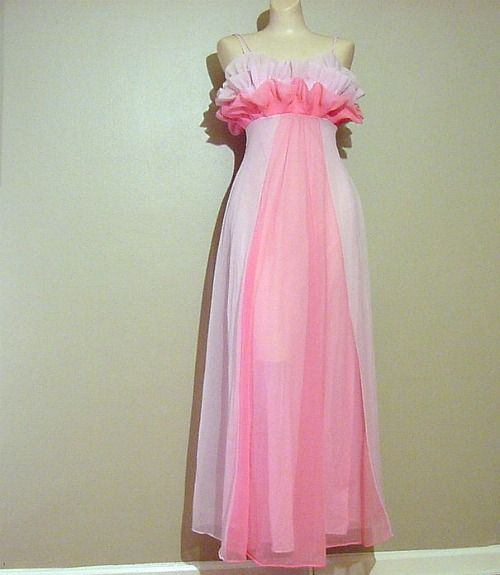 cfb6c55ea49 50s Glamorous Vanity Fair Pink Goddess Gown Nightgown XS S - product image