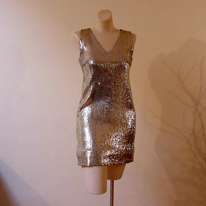 d60a2858de657 60s Gold Sequin Go-Go Dress X-Small - Pretty Sweet Vintage