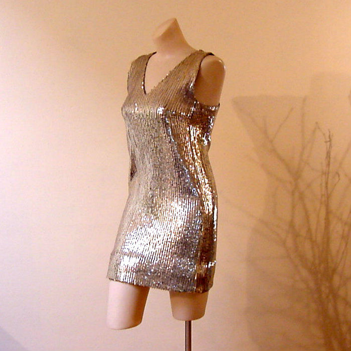 60s Gold Sequin Go Go Dress X Small Pretty Sweet Vintage