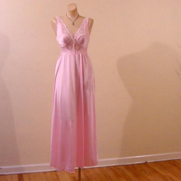 80s Pink Olga Bodysilk Gown Small - Pretty Sweet Vintage cf3bf6c48