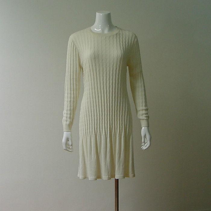 80s Early 90s R Amp K Originals Cream Sweater Dress Medium