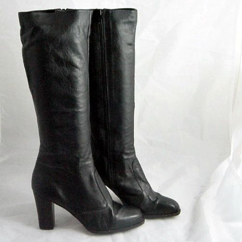 9c8dd6d0fd71 70s Black Leather Knee High Brazil Boots 8 - Pretty Sweet Vintage