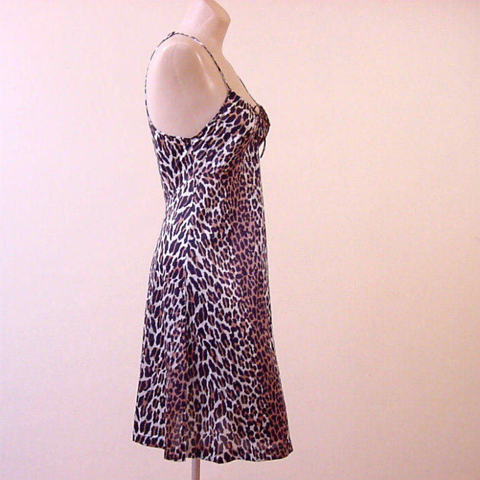 da546ef3641 60s Vanity Fair Racer Back Leopard Print Nightgown 32b - Pretty Sweet  Vintage