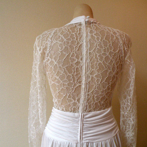 80s Romantic Lace & Jersey Wedding Dress 36b/28w