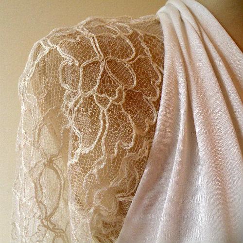 80s Romantic Lace & Jersey Wedding Dress 36b/28w