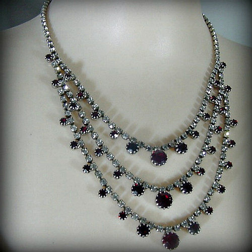 50s Ruby Ruby Rhinestone Necklace Pretty Sweet Vintage