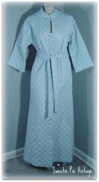 9d383e5d90 70s I. Appel Blue Quilted Robe - Pretty Sweet Vintage