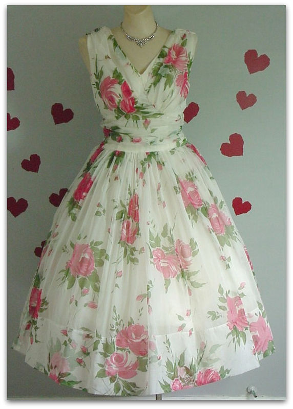 50s Chiffon Roses Dress Pretty Sweet Vintage