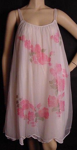 60s Artemis Rose Chiffon Gown Pretty Sweet Vintage