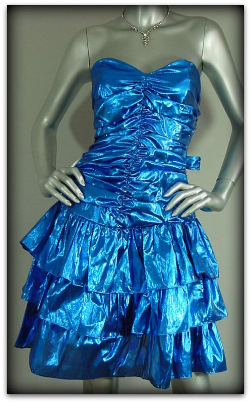 80s Electric Blue Foil Party Dress By Steppin Out Pretty