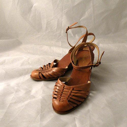 c5512789006 70s Huarache Wedge Sandals 7.5 - Pretty Sweet Vintage