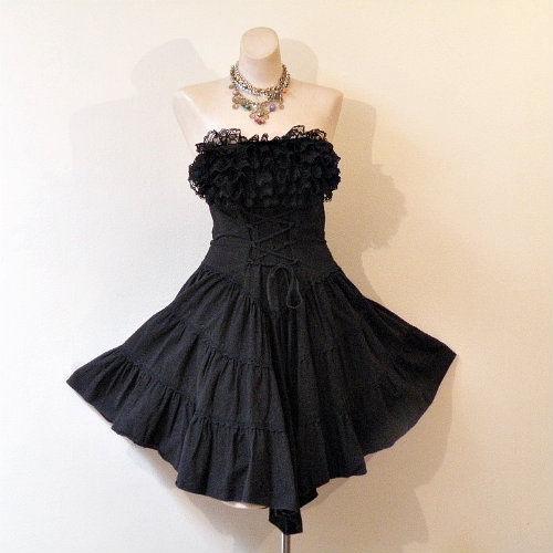 e135119545b1c 80s Black Strapless Corset Dress - Pretty Sweet Vintage