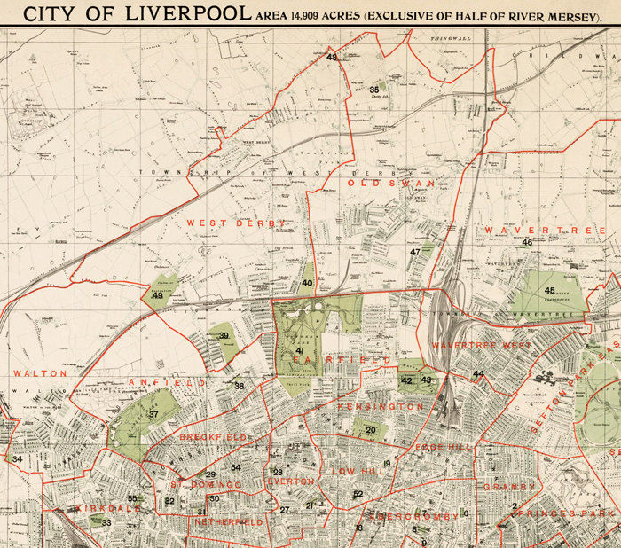 Liverpool Map Of England.Old Map Of Liverpool 1900 England