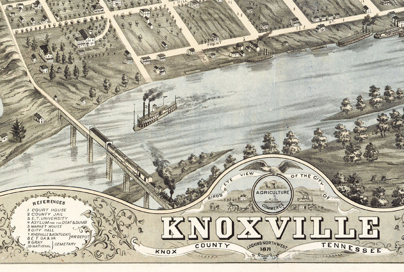 Panoramic view of Knoxville Knox County Tennessee 1871 on tacoma world map, reno world map, lafayette world map, long beach world map, little rock world map, manhattan world map, roanoke world map, morgantown world map, gleason world map, des moines world map, tucson world map, oakland world map, juneau world map, smyrna world map, cambridge world map, dover world map, phoenix world map, st. petersburg world map, myrtle beach world map, williamsburg world map,