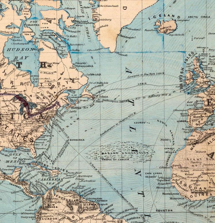 Vintage World Map 1876 Mercator Projection   Product Image