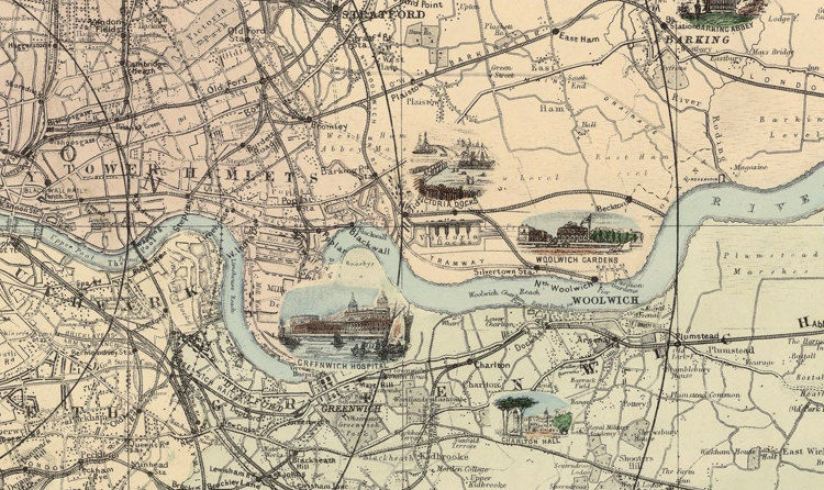Old London Map Pictorial Map Of London And Environs 1890 Vintage Maps And Prints