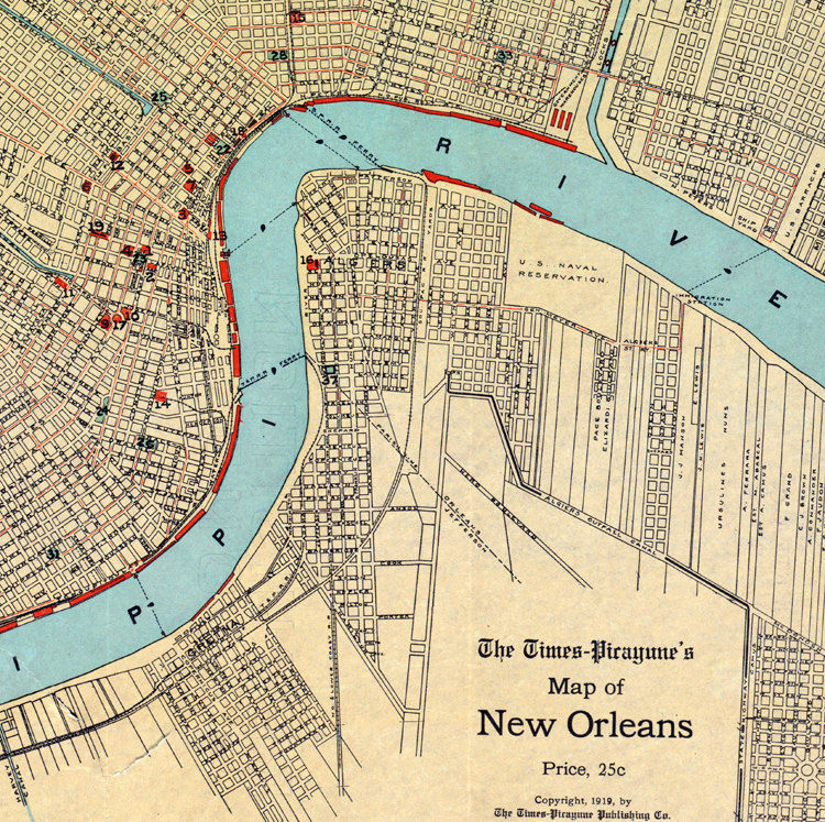 vintage new orleans map Old Map Of New Orleans 1919 Vintage Maps And Prints vintage new orleans map