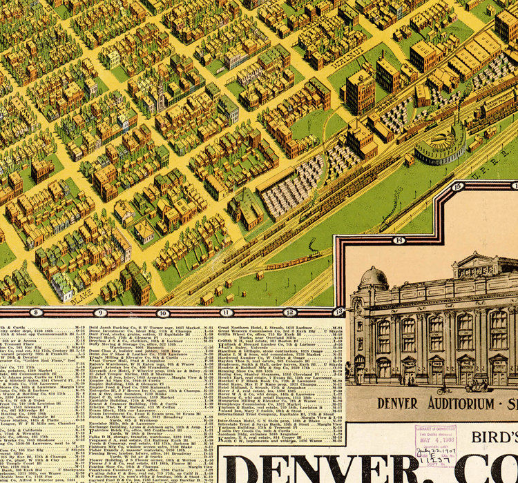 Birdseye View Old Map Of Denver Colorado United States 1908 Old - Us-map-1908